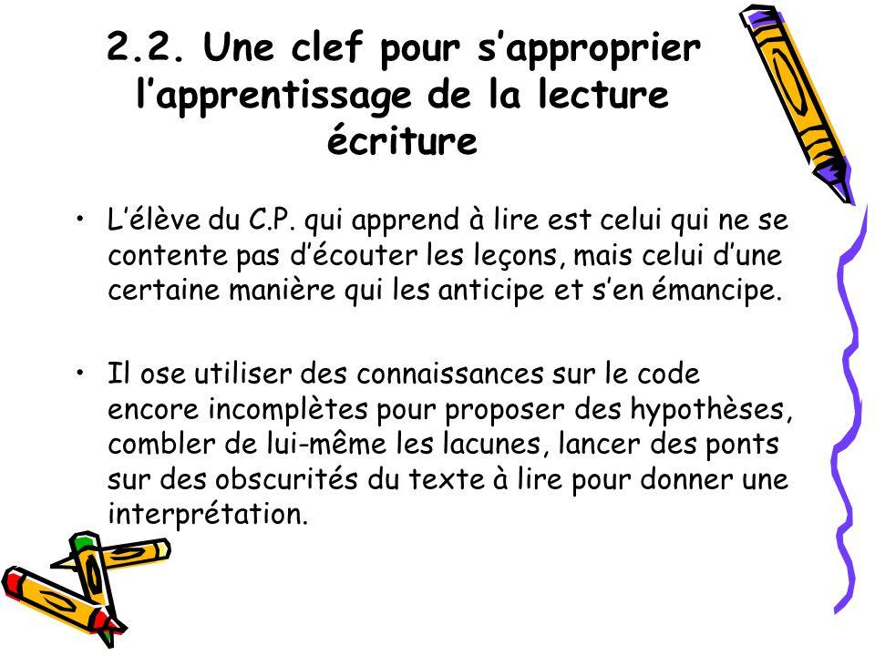 2.2. Une clef pour s'approprier l'apprentissage de la lecture écriture