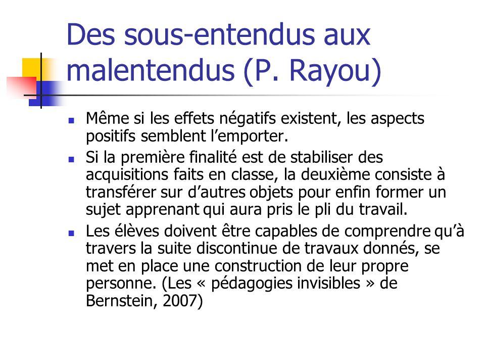 Des sous-entendus aux malentendus (P. Rayou)