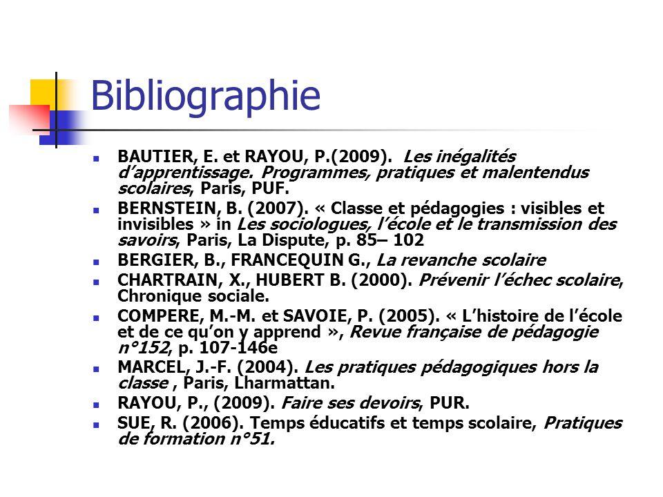 Bibliographie BAUTIER, E. et RAYOU, P.(2009). Les inégalités d'apprentissage. Programmes, pratiques et malentendus scolaires, Paris, PUF.