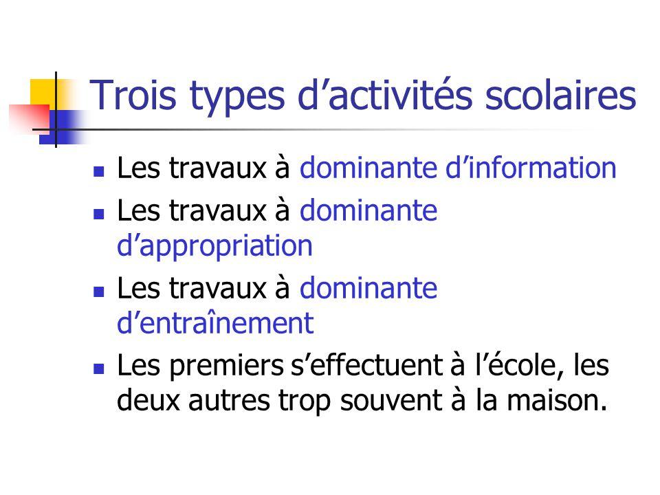 Trois types d'activités scolaires