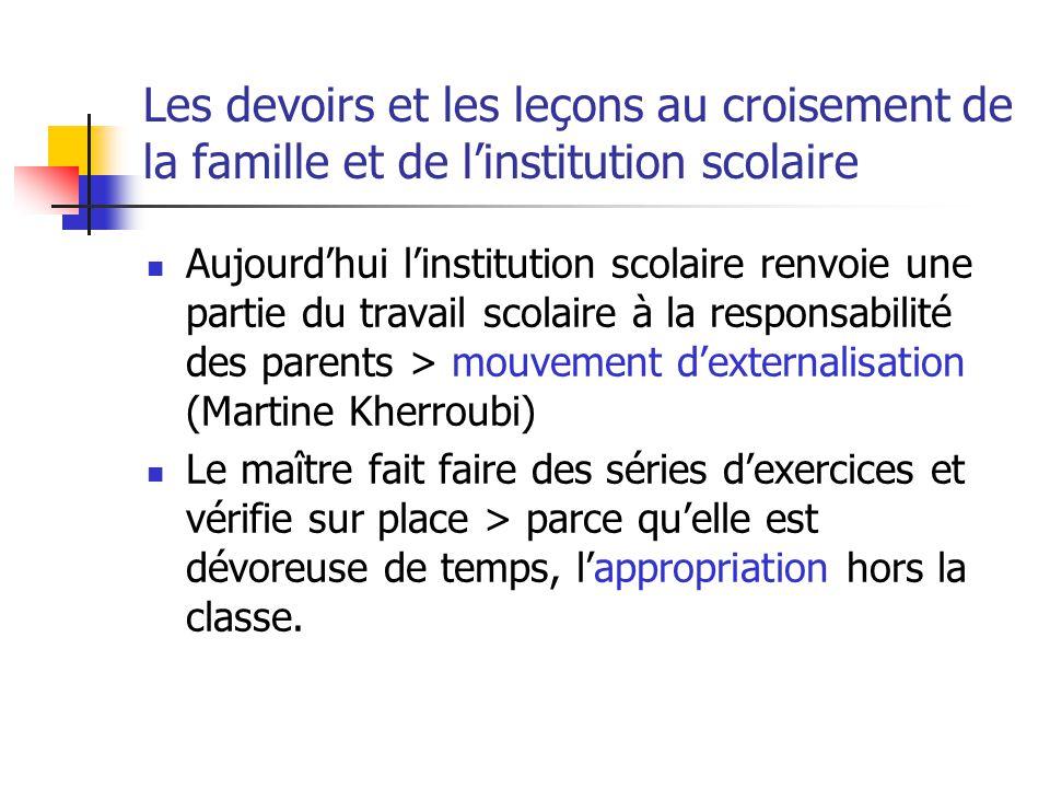 Les devoirs et les leçons au croisement de la famille et de l'institution scolaire