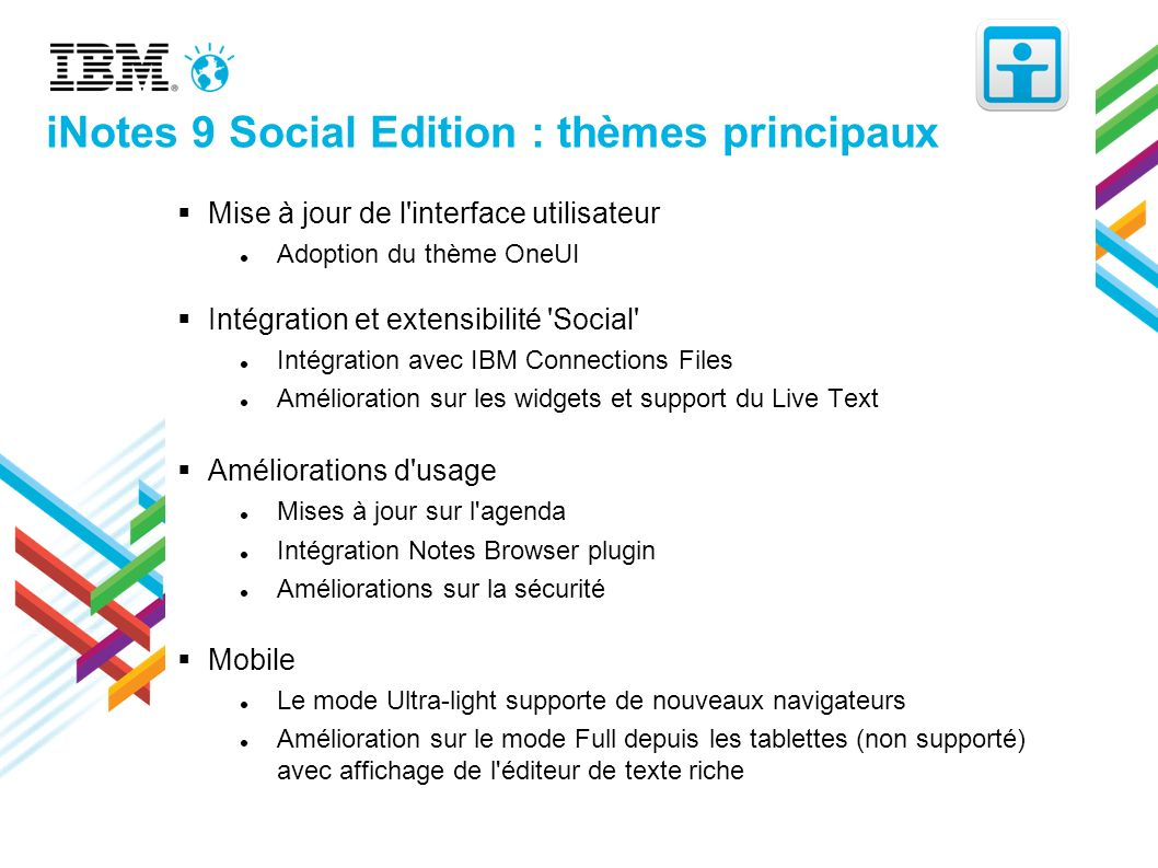 iNotes 9 Social Edition : thèmes principaux