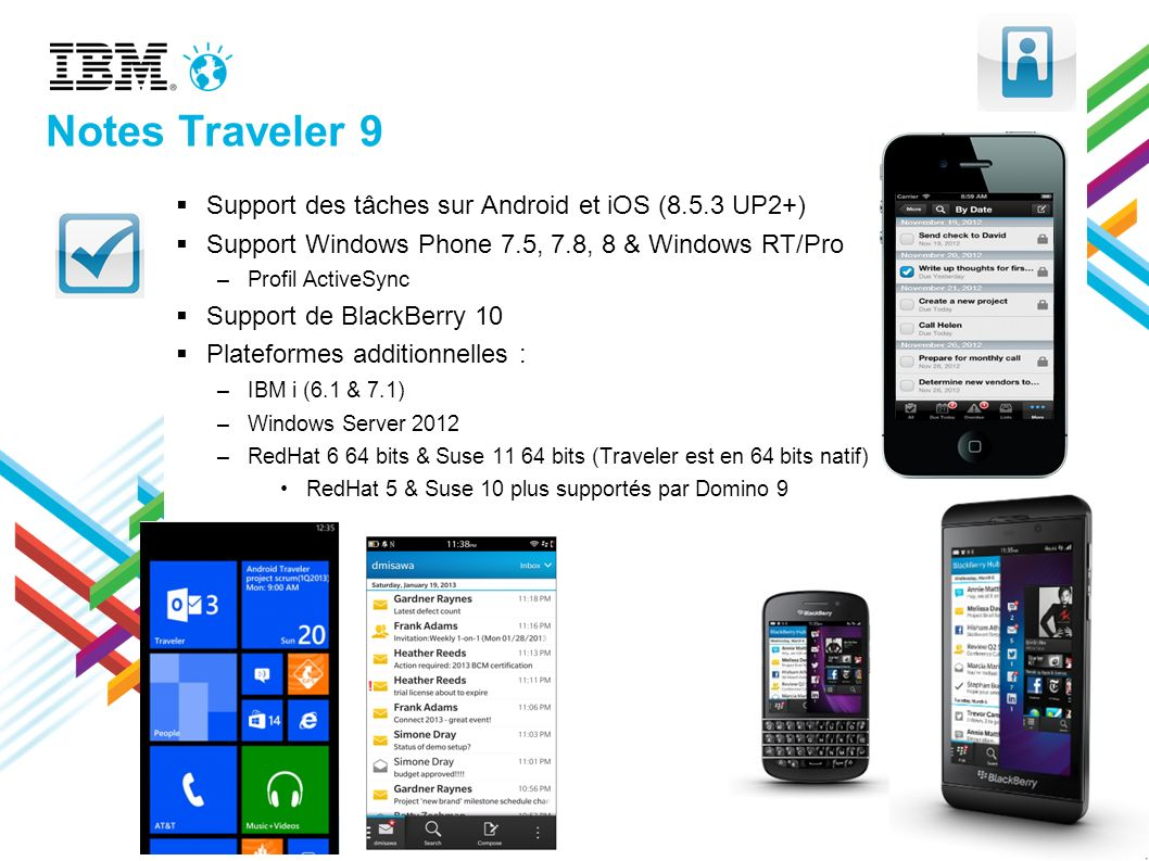 Notes Traveler 9 Support des tâches sur Android et iOS (8.5.3 UP2+)