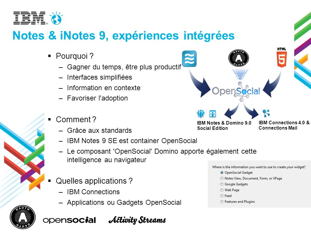 Notes & iNotes 9, expériences intégrées