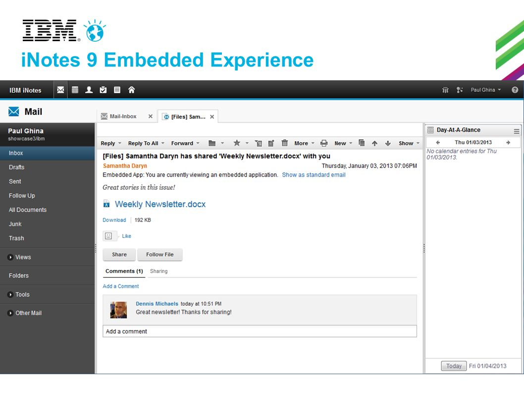 iNotes 9 Embedded Experience