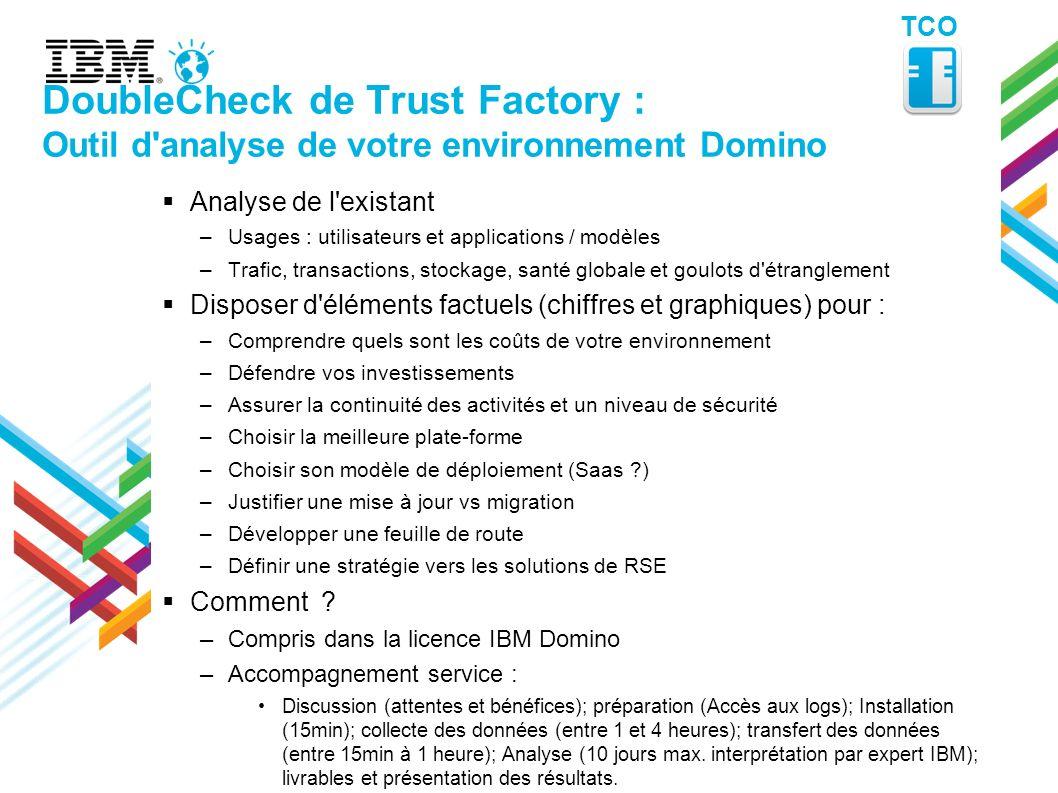 TCO DoubleCheck de Trust Factory : Outil d analyse de votre environnement Domino. Analyse de l existant.