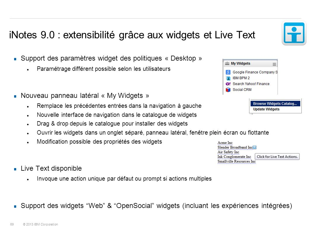 iNotes 9.0 : extensibilité grâce aux widgets et Live Text