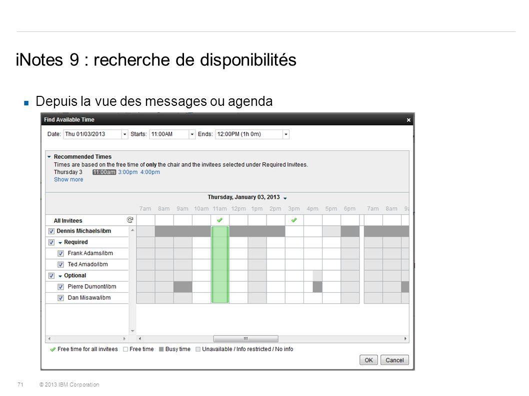 iNotes 9 : recherche de disponibilités