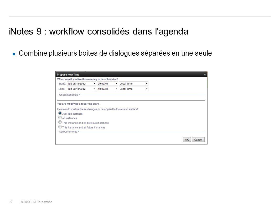 iNotes 9 : workflow consolidés dans l agenda
