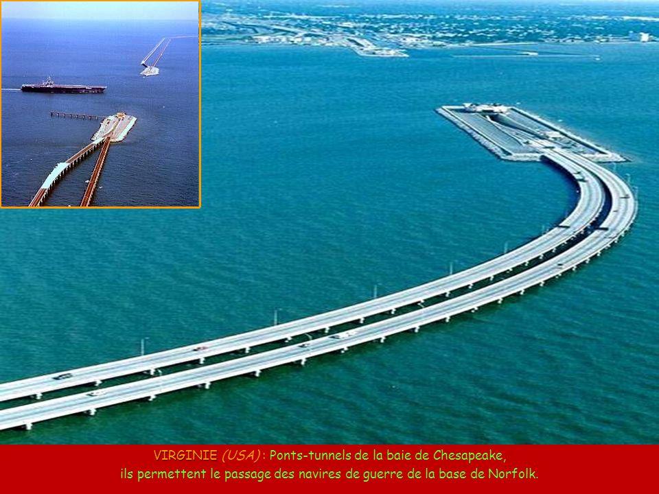 VIRGINIE (USA) : Ponts-tunnels de la baie de Chesapeake, ils permettent le passage des navires de guerre de la base de Norfolk.