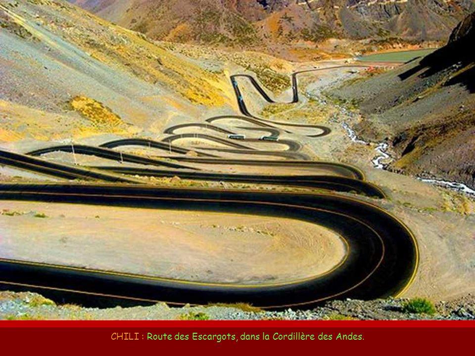 CHILI : Route des Escargots, dans la Cordillère des Andes.