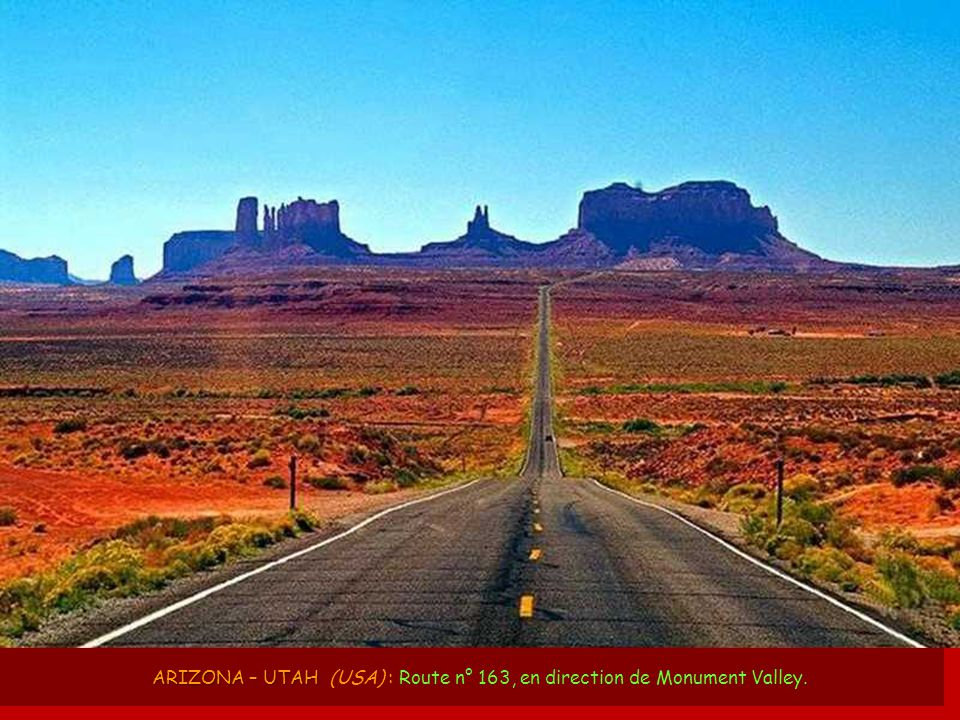 ARIZONA – UTAH (USA) : Route n° 163, en direction de Monument Valley.
