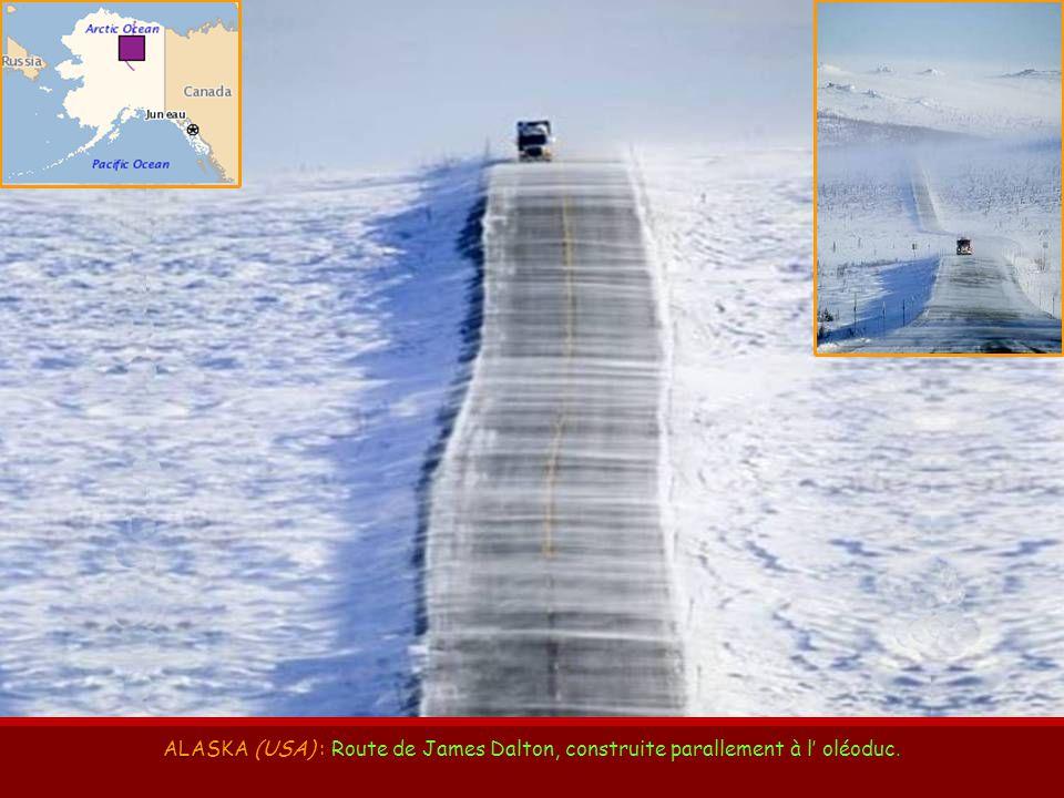 ALASKA (USA) : Route de James Dalton, construite parallement à l' oléoduc.