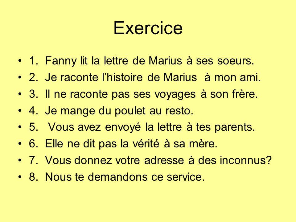 Exercice 1. Fanny lit la lettre de Marius à ses soeurs.