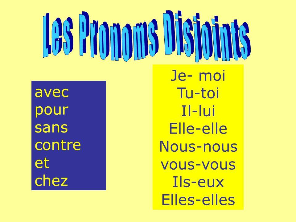 Les Pronoms Disjoints Je- moi Tu-toi Il-lui Elle-elle Nous-nous vous-vous Ils-eux Elles-elles.
