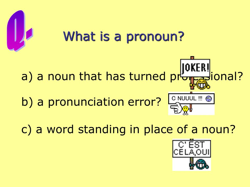 Q. What is a pronoun a) a noun that has turned professional