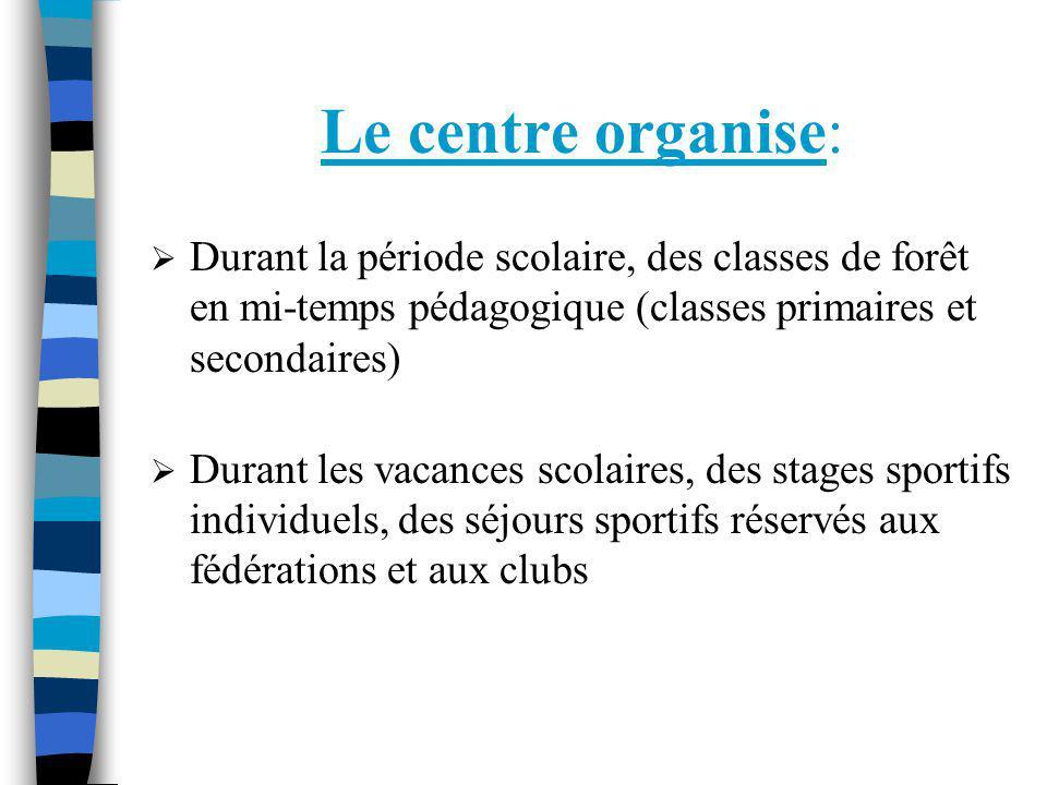 Le centre organise: Durant la période scolaire, des classes de forêt en mi-temps pédagogique (classes primaires et secondaires)