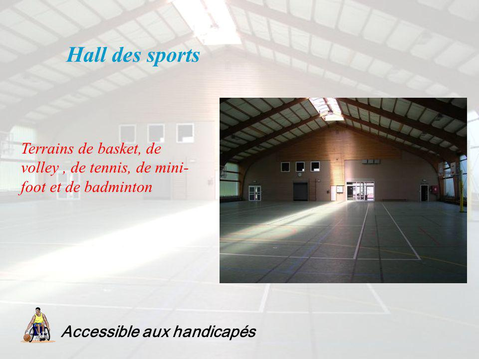Hall des sports Terrains de basket, de volley , de tennis, de mini-foot et de badminton.