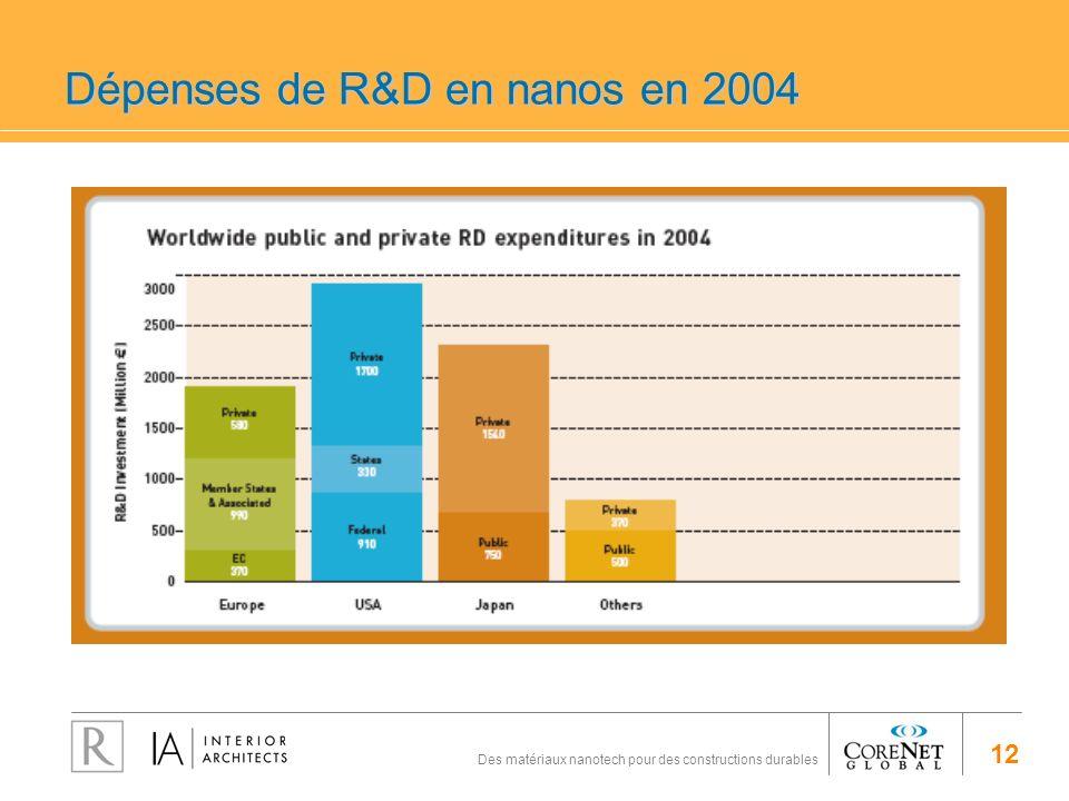 Dépenses de R&D en nanos en 2004