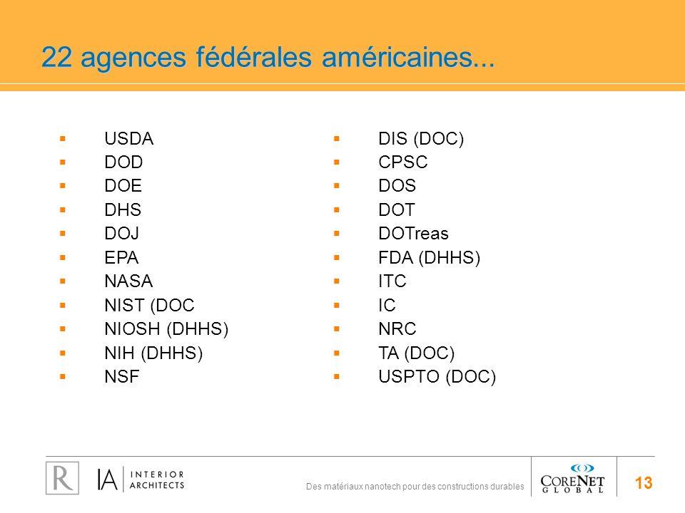 22 agences fédérales américaines...