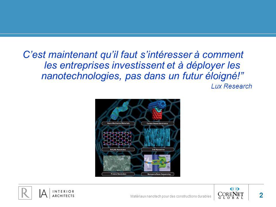 C'est maintenant qu'il faut s'intéresser à comment les entreprises investissent et à déployer les nanotechnologies, pas dans un futur éloigné!