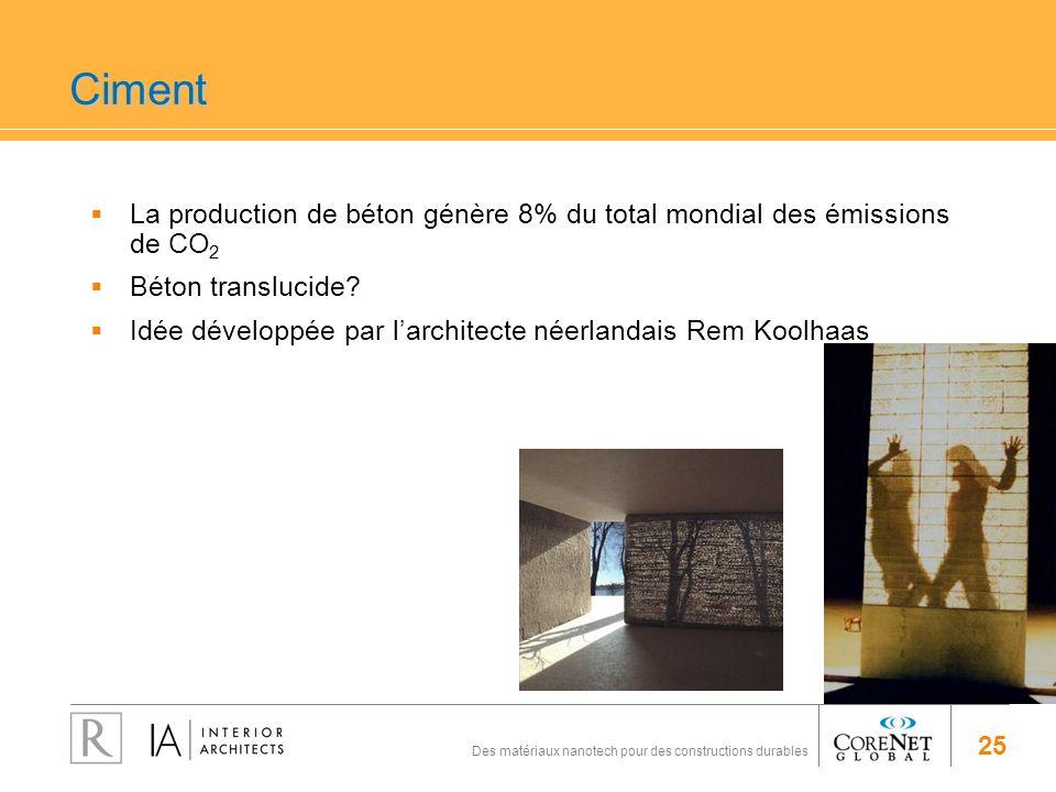 Ciment La production de béton génère 8% du total mondial des émissions de CO2. Béton translucide
