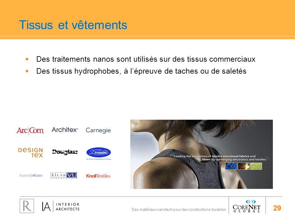 Tissus et vêtementsDes traitements nanos sont utilisés sur des tissus commerciaux. Des tissus hydrophobes, à l'épreuve de taches ou de saletés.