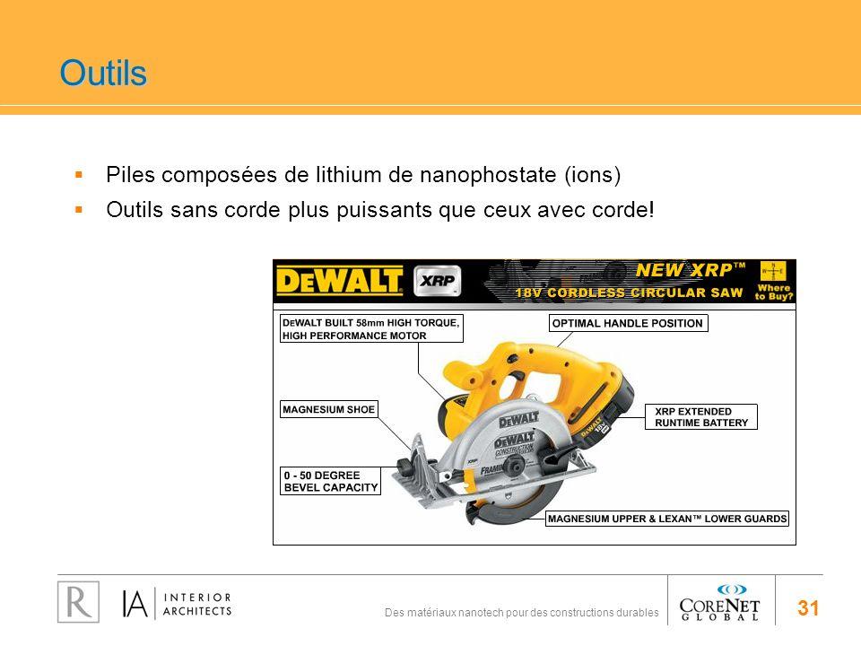 Outils Piles composées de lithium de nanophostate (ions)