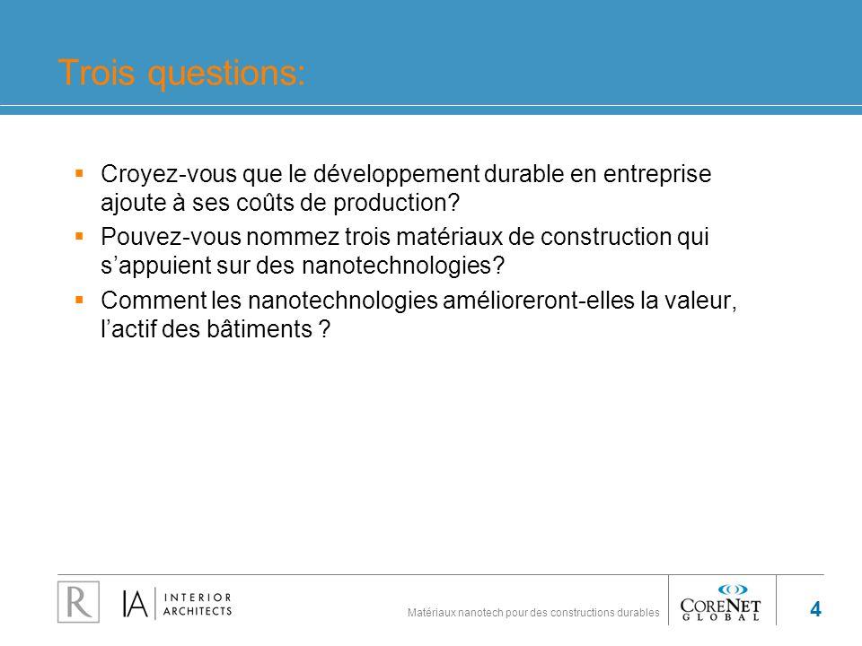 Trois questions: Croyez-vous que le développement durable en entreprise ajoute à ses coûts de production
