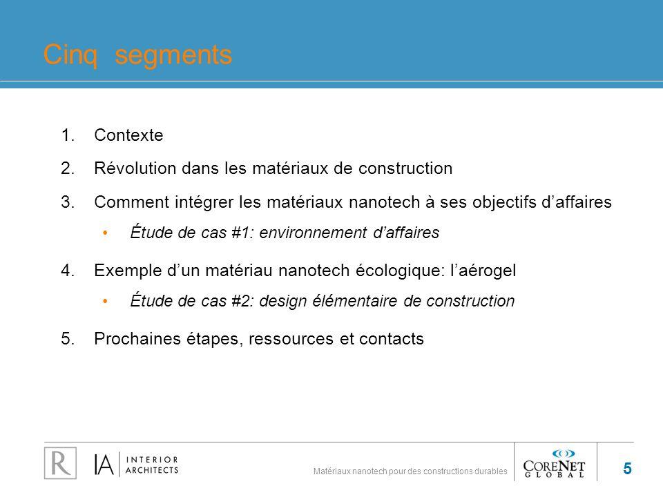 Cinq segments Contexte Révolution dans les matériaux de construction
