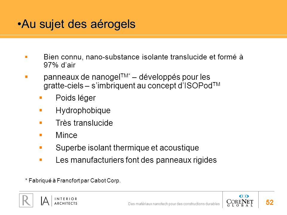 Au sujet des aérogels Bien connu, nano-substance isolante translucide et formé à 97% d'air.