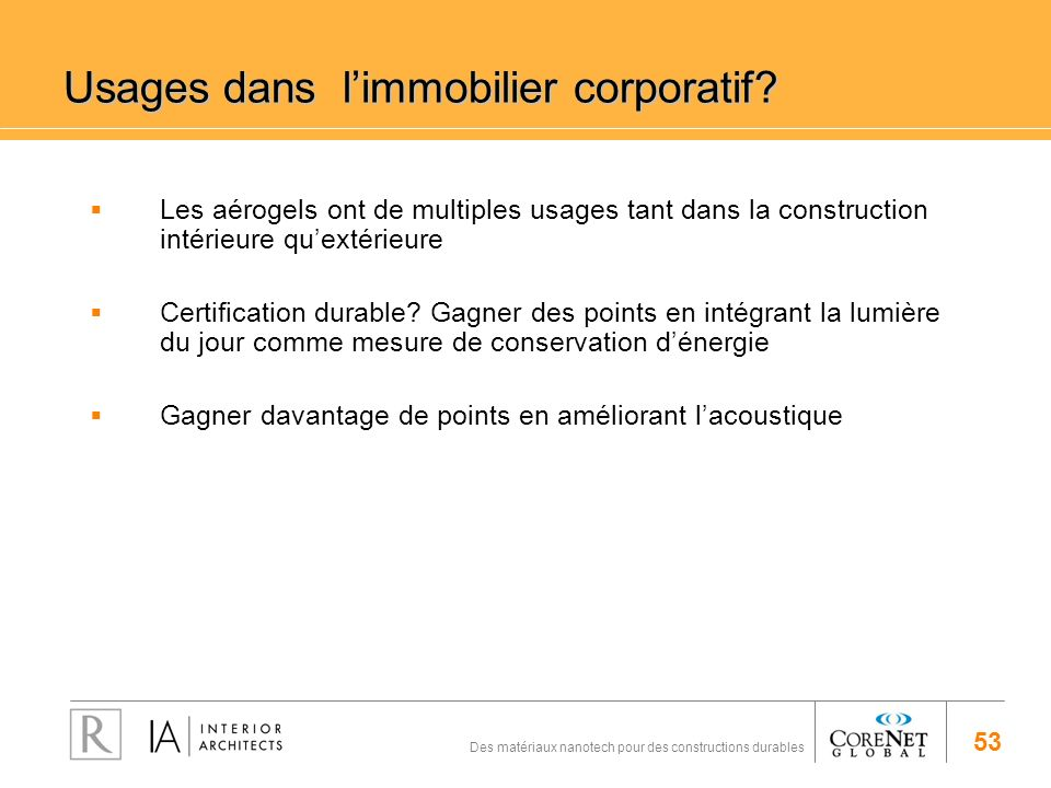 Usages dans l'immobilier corporatif
