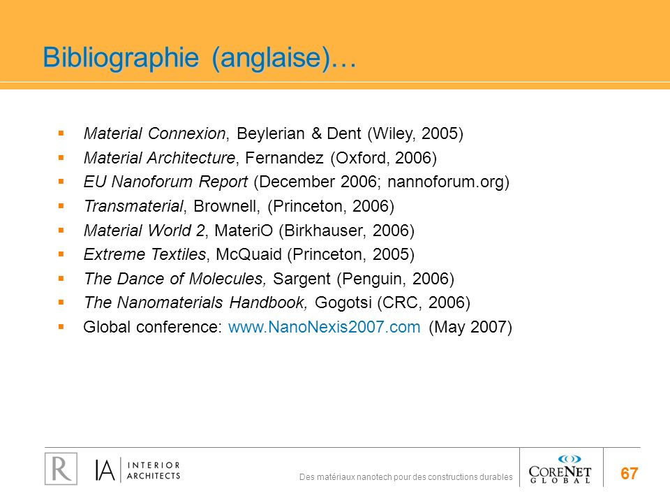 Bibliographie (anglaise)…