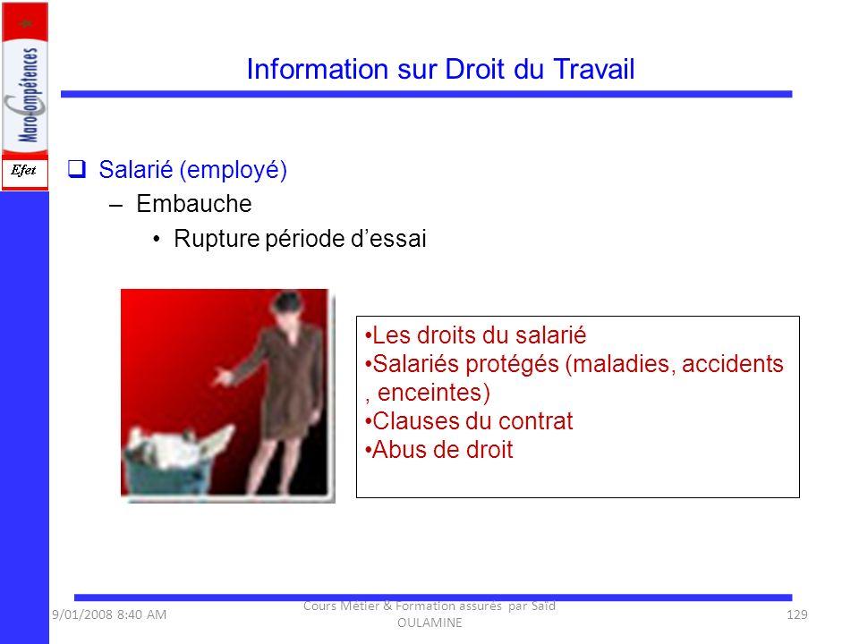 Information sur Droit du Travail