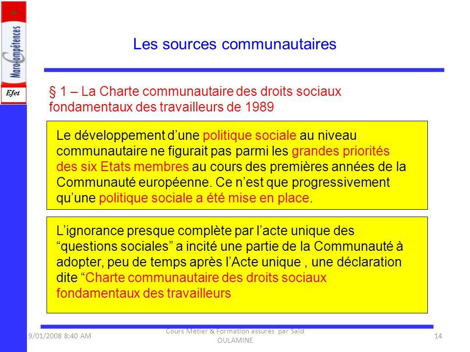 Les sources communautaires