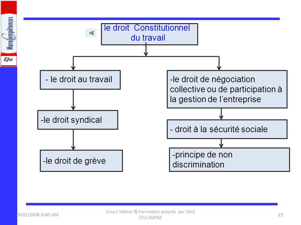 le droit Constitutionnel du travail
