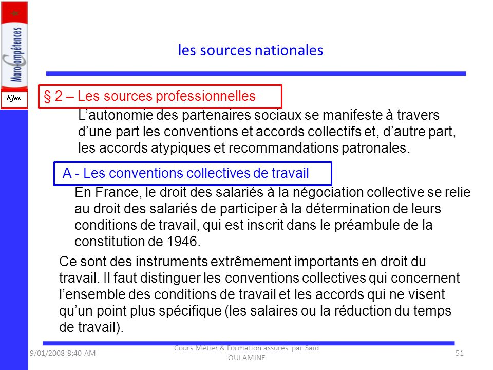 les sources nationales