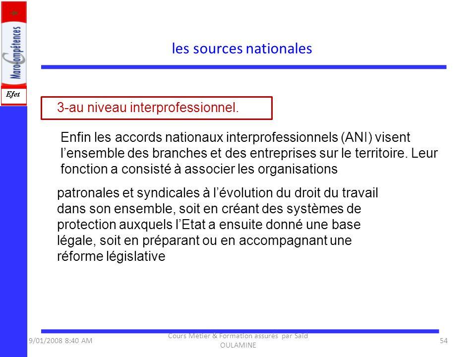 les sources nationales