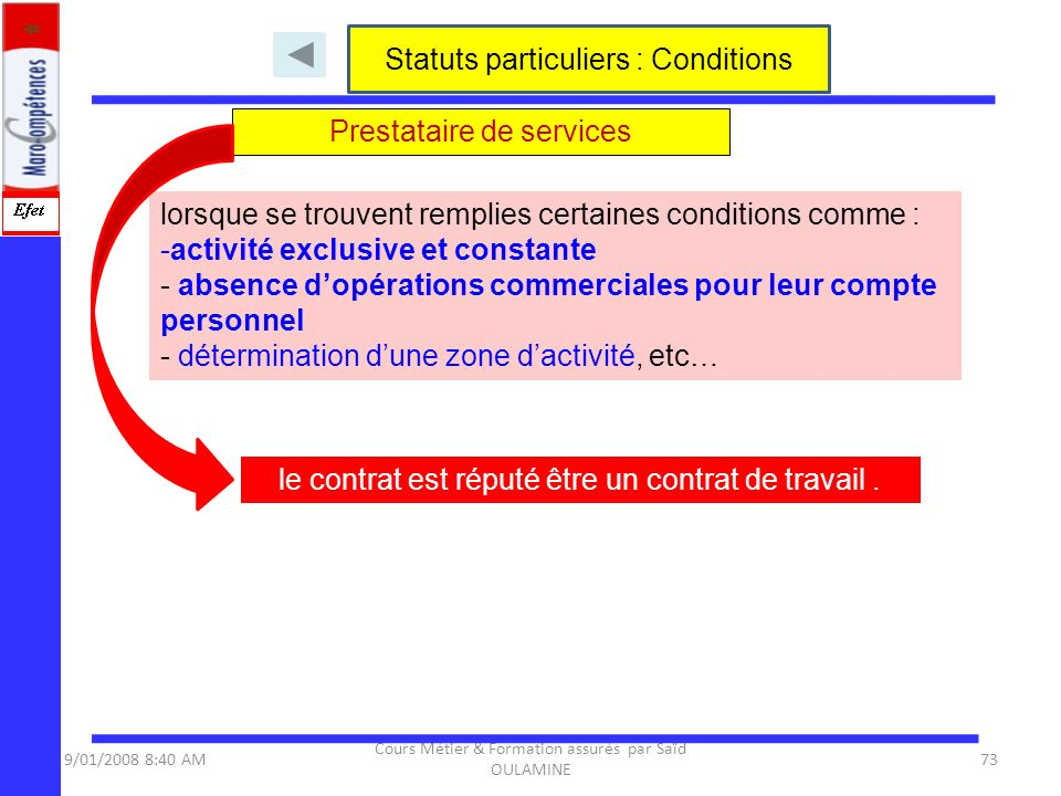 Statuts particuliers : Conditions