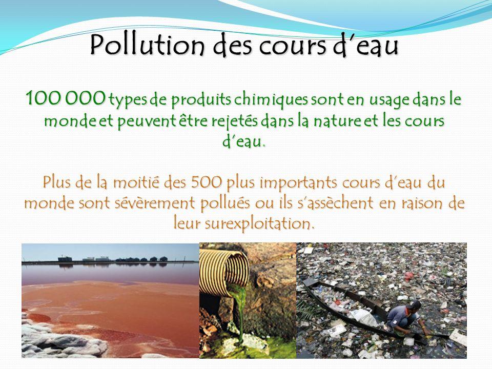 Pollution des cours d'eau 100 000 types de produits chimiques sont en usage dans le monde et peuvent être rejetés dans la nature et les cours d'eau. Plus de la moitié des 500 plus importants cours d'eau du monde sont sévèrement pollués ou ils s'assèchent en raison de leur surexploitation.