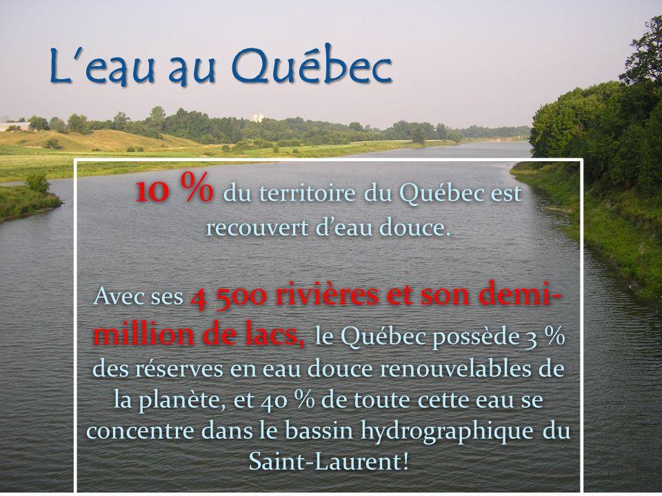 10 % du territoire du Québec est recouvert d'eau douce.