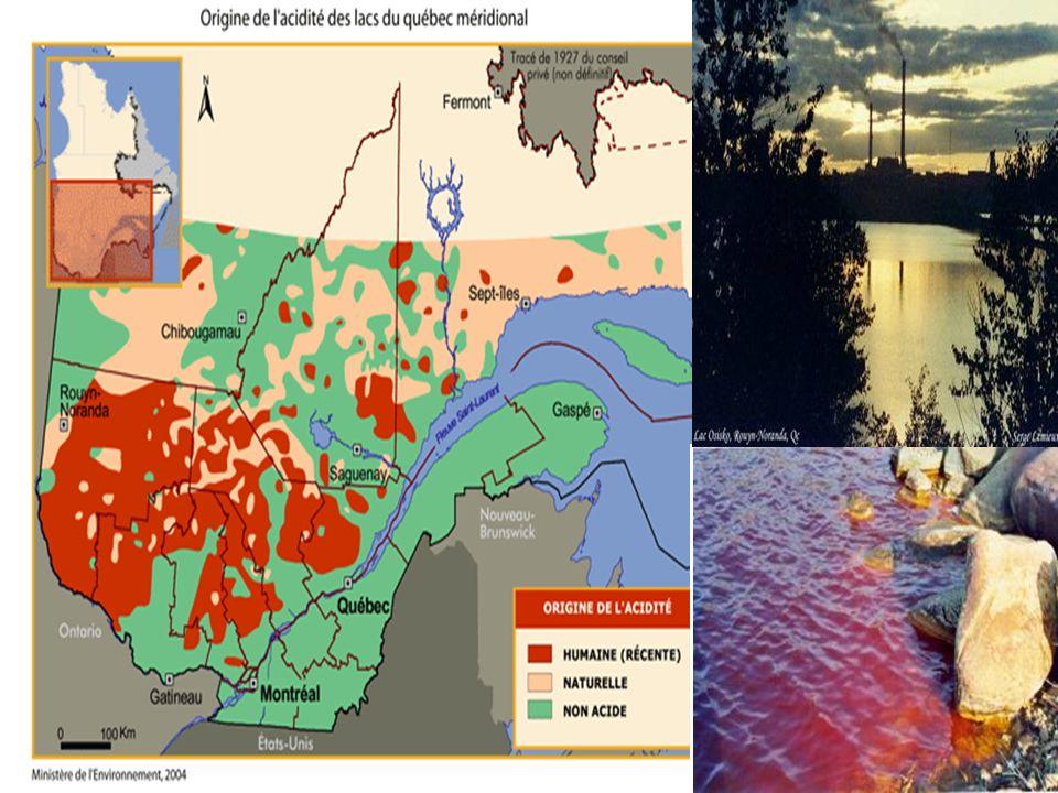 Pas juste dans le monde ici aussi : toutes les régions du Québec sont affectées à divers degrés par un ou plusieurs types de pollution découlant des activités humaines (lacs acides de l'Abitibi et de l'Outaouais, impacts de l'exploitation forestière au nord du Québec, surexploitation des nappes souterraines pour l'embouteillage de l'eau, pollution des rivières et du fleuve, etc.).