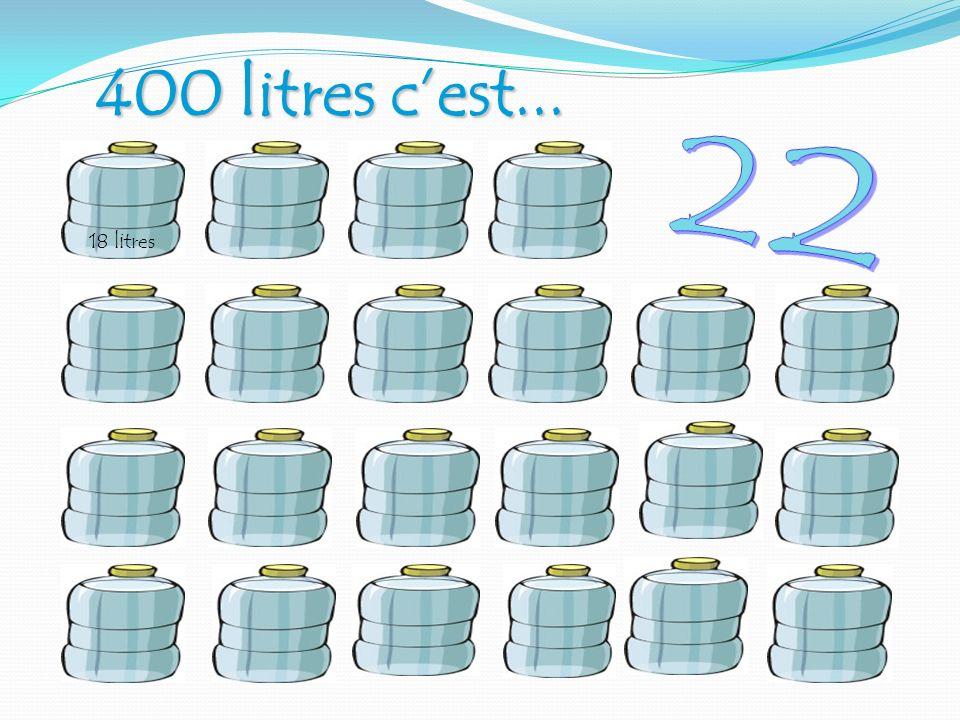 400 litres c'est... 22. 18 litres. Quatre cents litres d'eau par jour, ce sont 22 grandes bouteilles bleues de 18 L.