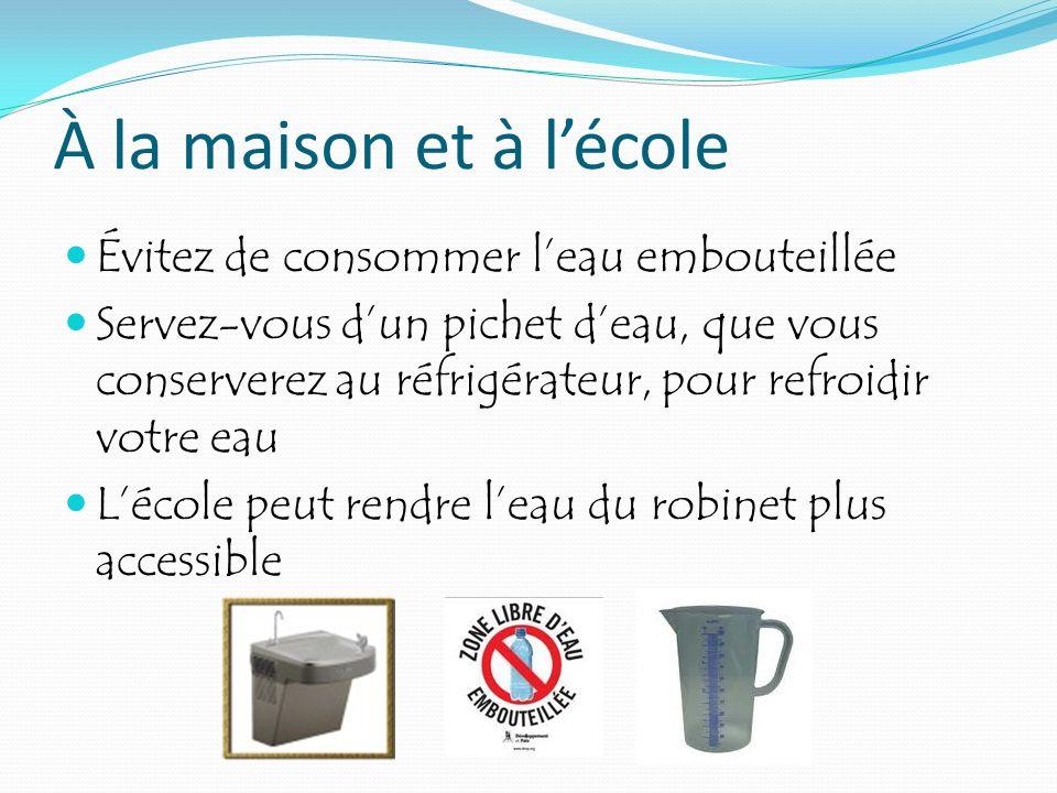 À la maison et à l'école Évitez de consommer l'eau embouteillée