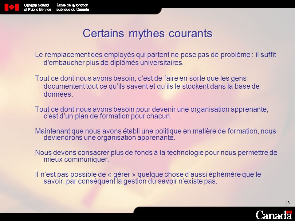 Certains mythes courants