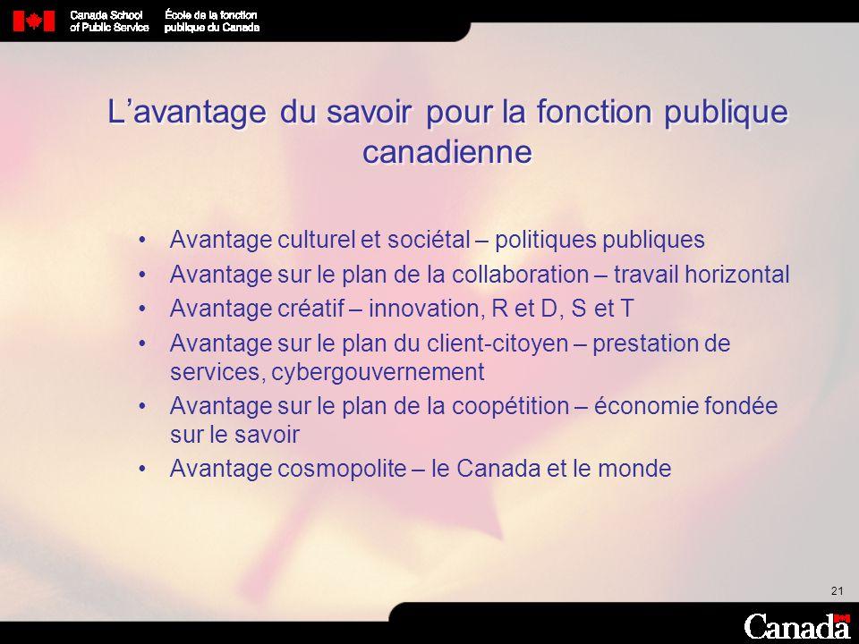 L'avantage du savoir pour la fonction publique canadienne