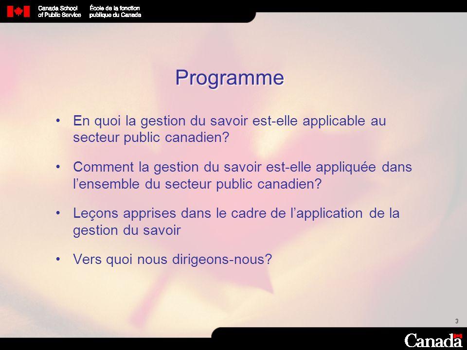 Programme En quoi la gestion du savoir est-elle applicable au secteur public canadien