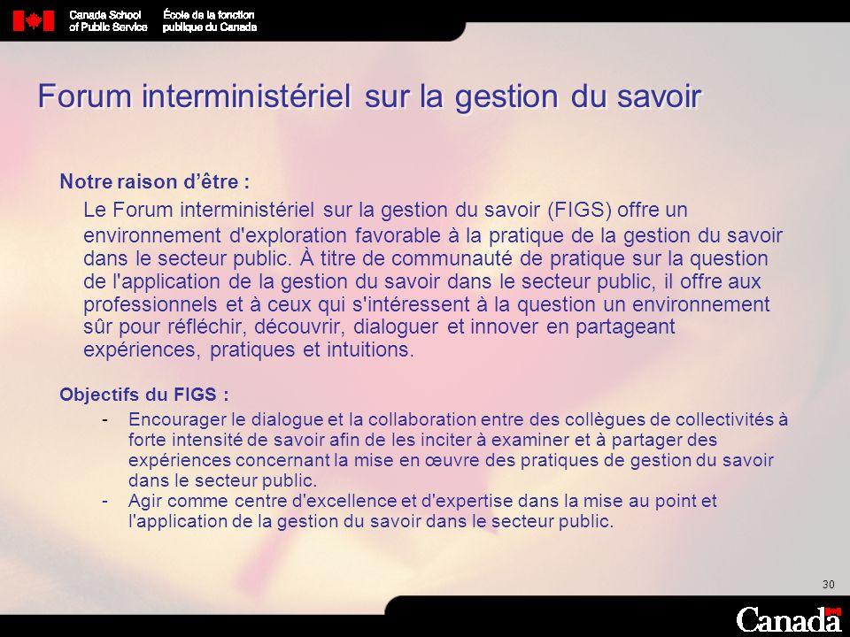 Forum interministériel sur la gestion du savoir