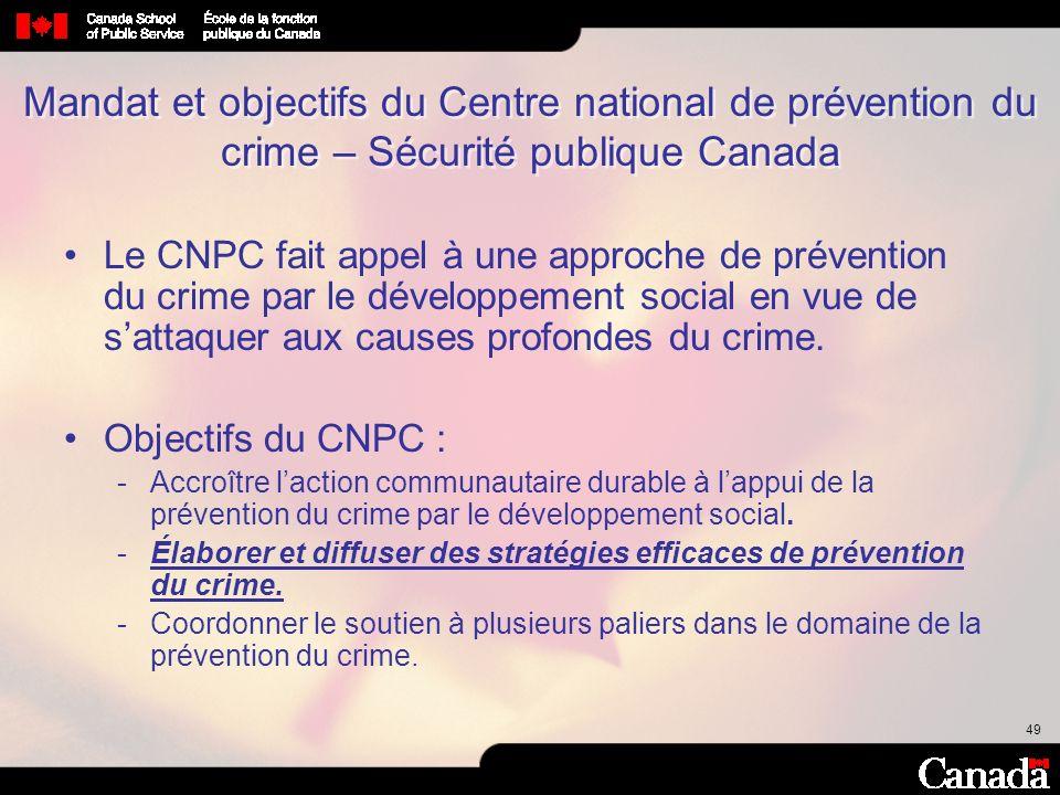 Mandat et objectifs du Centre national de prévention du crime – Sécurité publique Canada
