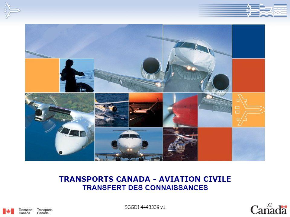 TRANSPORTS CANADA - AVIATION CIVILE TRANSFERT DES CONNAISSANCES